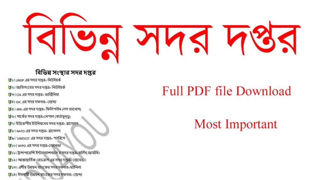 বিভিন্ন সংস্থার সদর দপ্তর কোথায় Full PDF 2021